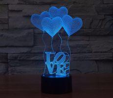 3D lampa Love