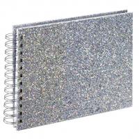 Hama album klasické spirálové GLAM 24x17 cm, 50 stran, stříbrná, bílé listy