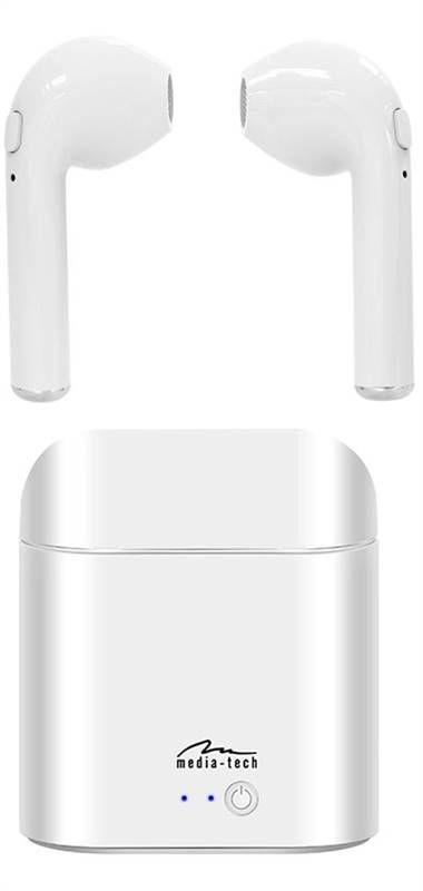 MT3589W R-PHONES Bluetooth sluchátka s nabíjecím boxem bílá Media-Tech