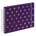 Hama album klasické spirálové TWINKLE 24x17 cm, 50 stran, fialová, bílé listy